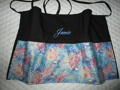 3 POCKET Server WAITRESS WAIST APRON Blue Pink Gold Flower W/WO Name Lady Pizazz