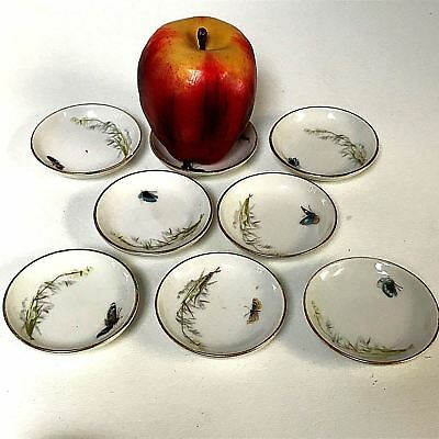 Set of 8 Haviland Limoges Butter Pat Plates with Hand Painted Flowers Butterfly