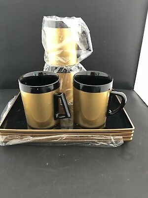 West Bend Thermo Serv Insulated Black Gold Coffee 4  Cups Mugs Snack Set 4 Trays