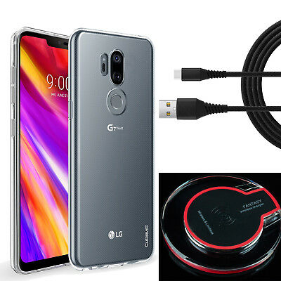 For LG G7 ThinQ Clear TPU Case+-LED QI Wireless Charger+Fast Braid Type C Cable