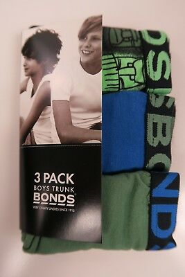 Bonds Boys Kids 3 Pack Cotton Trunks Underwear sizes 2 3 4 6 8 10 14 16