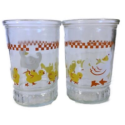 Vtg Bama Jelly Jar Juice  Glass Featuring Ducks/Geese Great Condition Set of Two