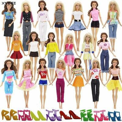 Fashion Blouse Trouser Dress Pant Skirt Barbie Doll Lot 20 Pcs =10 Shoes10 Sets