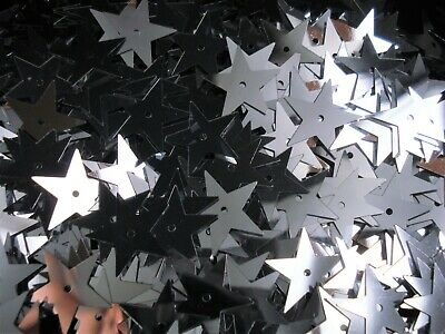 Sequins Stars 18mm Metallic Silver 25g Christmas Scrapbooking Shiny FREE POSTAGE