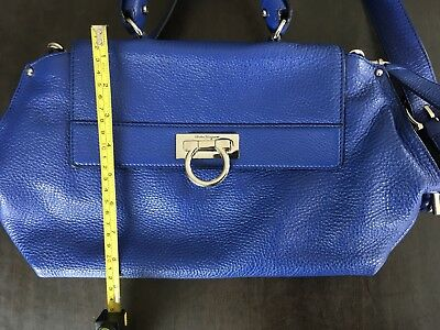 c5c460339ce SALVATORE FERRAGAMO SOFIA Satchel Medium Blue Handbag purse authentic real