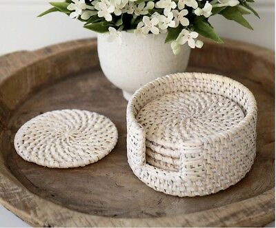 Handwoven Whitewashed Round Rattan Coasters (Set Of 6)