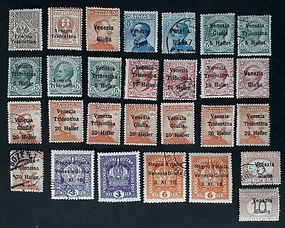 RARE 1918-19 Italian Occupation of Austria lot of 28 stamps with O/Ps Mint &Used
