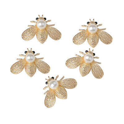 5x Bee Shape Alloy Crystal Pearl Embellishment for DIY Phone Case Craft 40mm