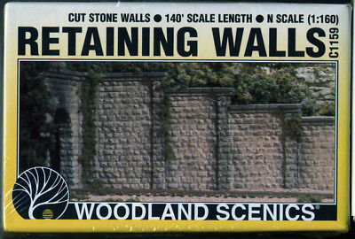 N Scale/gauge Woodland Scenics - Cut Stone Retaining Walls - C1159 (1:160) Scale