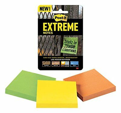 Post-it Extreme Notes, 3 in x 3 in, 3 pads, 45 sheets per pad, Green, Yellow,