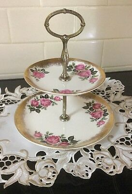 Weatherby Hanley England Royal Falcon Ware 2 Tier Cake Plate Roses