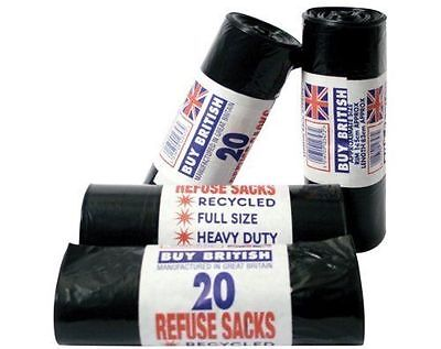 200 Heavy Duty Black Refuse Sack Bags Bin Liners Bag Rubbish Rubble Uk Made 160G