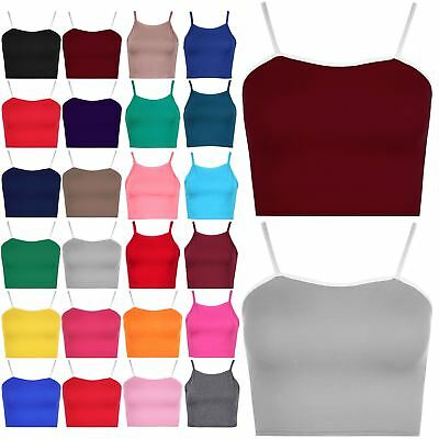 Womens Ladies Plain Camisole Sleeveless Contrast Strappy Bralet Cropped Crop Top