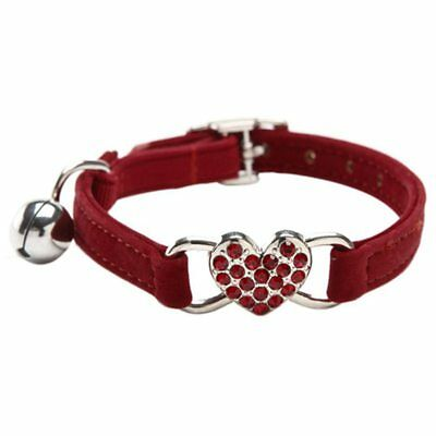 Heart charm and bell cat collar safety elastic adjustable with soft velvet C1H5