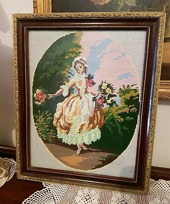 Vintage Tapestry Girl Flowers Gold French Italian Ornate Frame Rococo Baroque