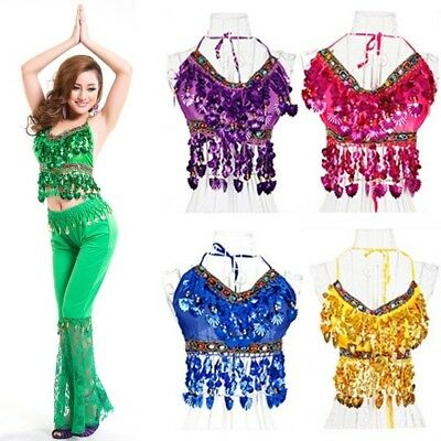 New Sequined Belly Dance Costume Bra Top Dancing Vest Apparel Clothing UK Seller