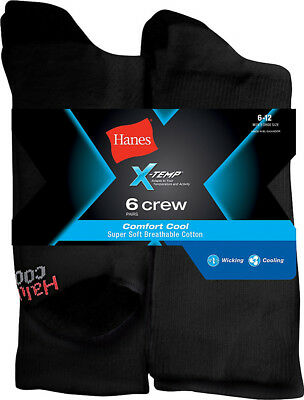 Hanes Men's FreshIQ X-Temp Comfort Cool Crew Socks 6-Pack, CC18/6, 10-13