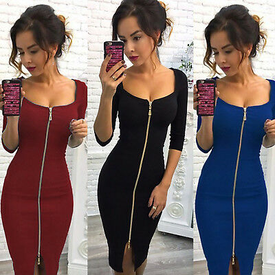 Womens Deep V Neck Bodycon Front Zip Cocktail Ladies Party Pencil Midi Dress