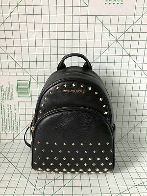 MICHAEL KORS ABBEY Medium Studded Leather Backpack School Bag Black ... 0a7a5304284b8