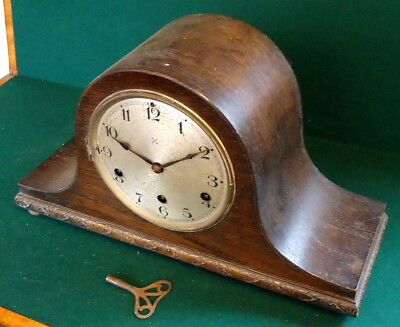 """GERMAN"" CHIMING  ROSEWOOD MANTEL CLOCK.  Napolean Style Top, Works & Chimes"