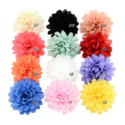 12PCS Baby Girls Bows Chiffon Flower Hair Clip Girls Toddler Babies Hairpins