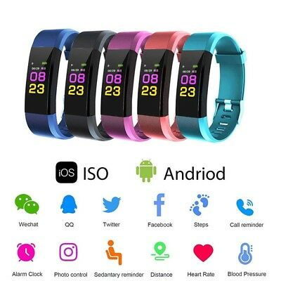 Smart Watch Waterproof Bluetooth Blood Pressure Heart Rate Monitor Sport Band US