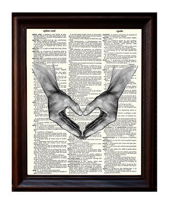 Heart Hands - Dictionary Art Print Printed On Authentic Vintage Dictionary Book