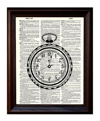 Pocket Watch - Dictionary Art Print Printed On Authentic Vintage Dictionary Book