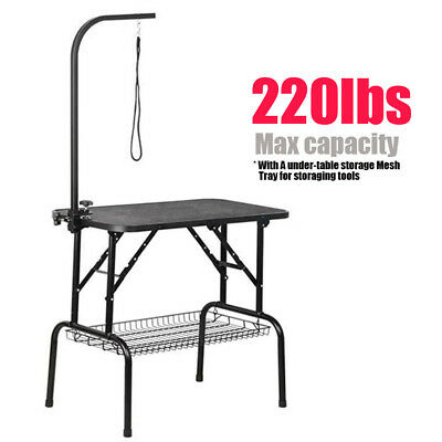 """32""""36""""47""""Adjustable Pet Dog Grooming Table Folding Show W/Arm &Noose & Mesh Tray"""