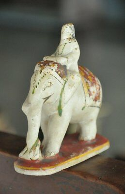 Old White Marble Handpainted Solid Elephant Rider Handcrafted Figurine
