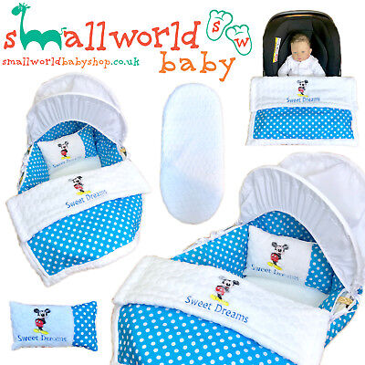Personalised 5 Piece Moses Basket Cover Bedding Dressing Blanket Mickey Mouse