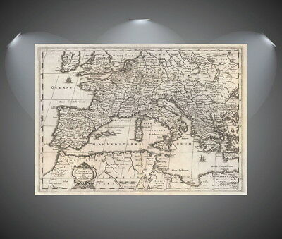 147258 Vintage World Map of Europe Wall Print Poster CA