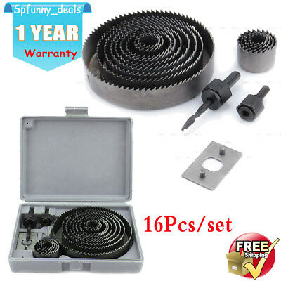 16Pcs Hole Saw Drill Bits Cutting Set Kits for 19mm-127mm Wood Sheet with Case