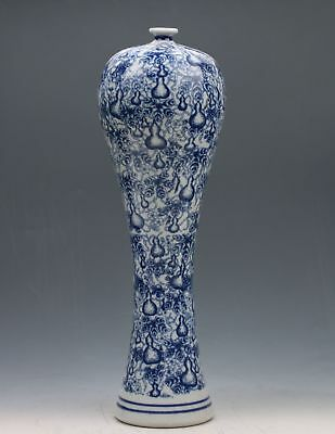 Exquisite Chinese Blue And White Porcelain Handmade Gourd Vase
