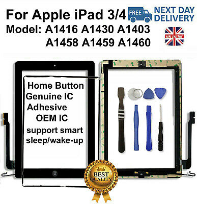 For iPad 3 4 A1416 A1430 A1403 Black Touch Screen Glass Digitizer Replacement IC