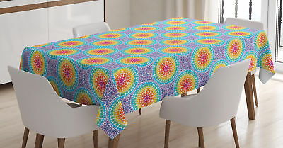 Colorful Shapes Tablecloth Ambesonne 3 Sizes Rectangular Table Cover Decor