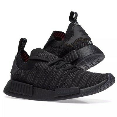 74e2e2c50 Adidas Nmd R1 Stlt Pk Triple Black Primeknit Boost Shoes Us8.5 Deadstock New