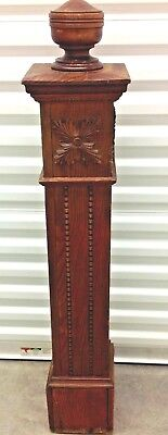 Antique Wood Carved Newel Post Architectural Salvage