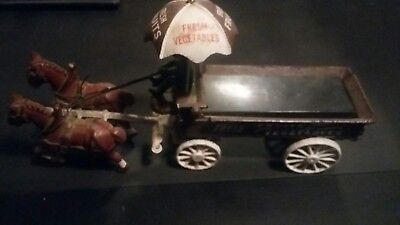 Vintage Cast Iron Fresh Vegetables Horse and Buggy