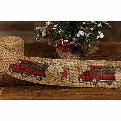 red pickup truck burlap christmas ribbon 2 by 10 feet by country house - Burlap Christmas Ribbon