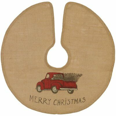 MERRY CHRISTMAS Red Pickup Truck Burlap Christmas Tree Skirt, Choose Your Size!