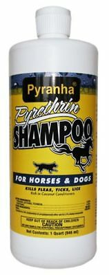 PYRANHA Pyrethrin Insecticidal Shampoo Horses Dogs Repels Flies Mosquitoes 32oz