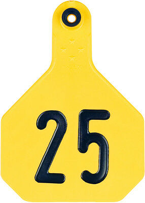 4 Star Large Cattle ID Ear Tags Yellow Numbered 101-125