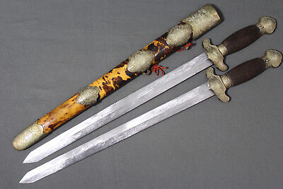 Chinese shuang jian swords - China, Qing dynasty, late 19th early 20th century