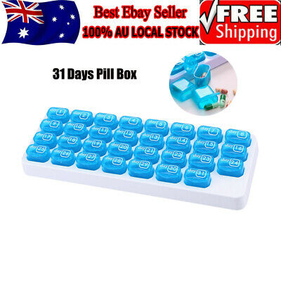 One Month Pill Organiser 31 Day Box Lid Medicine Tablet Storage Dispenser Travel