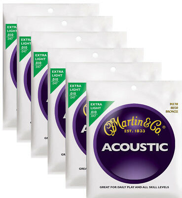 Martin M170 extra light bronze wound acoustic guitar string set ( 6 sets )
