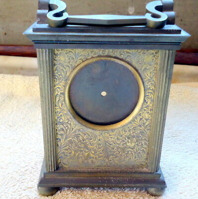 "Antique ""CARRIAGE"" Mantel Clock Brass Case Restoration or Spares, c1901"