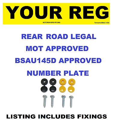 Car Number Plate - Single Rear - Road Legal Inc Fixing Screws And Caps