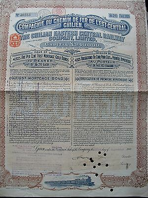 The Chilian Eastern Central Railway Co £20  1910