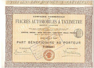 Lot: 3 Fiacres Automobiles a Taximetre 1907  Paris